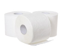 Toilet paper. Isolated on the white background stock photography
