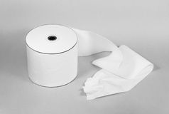 Toilet paper. Roll of toilet paper - tape truthful information Royalty Free Stock Photography