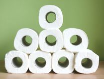 Toilet paper. Some toilet paper-roll with green background Stock Image
