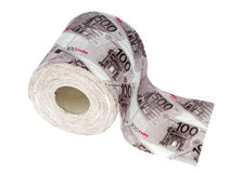 Toilet paper. Roll of a toilet paper with figure of euro Stock Photography