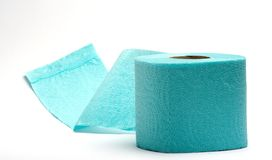 Toilet paper. Close up of a blue toilet paper Royalty Free Stock Photography