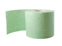 Toilet paper. Green toilet paper isolated on white royalty free stock photo