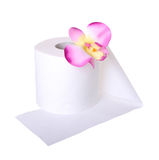 Toilet paper with beautiful orchid flower isolated Royalty Free Stock Image