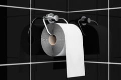 Toilet paper on chrome holder Stock Image
