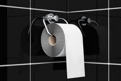 Toilet paper on chrome holder Stock Image