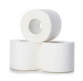 Toilet paper close-up isolated on a white Royalty Free Stock Photo