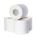 Toilet paper close-up isolated on a white Stock Photography