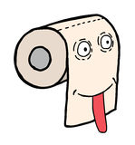 Toilet paper face. Hand drawn toilet paper smile, cartoon illustration Royalty Free Stock Photos