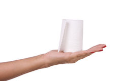 Toilet paper in hand Stock Image