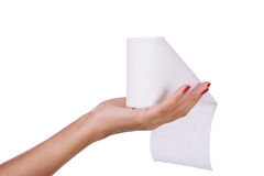 Toilet paper in hand Royalty Free Stock Photos