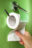 Toilet paper and hand Stock Photography