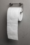 Toilet paper on a holder. Roll of toilet paper hanging on a grungy wall Stock Photos