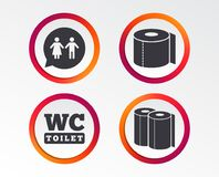 Toilet Paper Icons. Gents And Ladies Room. Royalty Free Stock Photography
