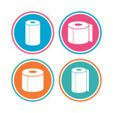Toilet paper icons. Kitchen roll towel symbols. Royalty Free Stock Photo