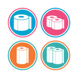 Toilet paper icons. Kitchen roll towel symbols. Royalty Free Stock Images