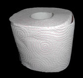 Toilet paper isolated on black Stock Photography