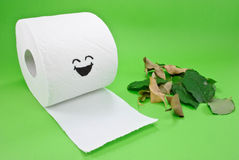 Toilet Paper and Leaves Royalty Free Stock Photo