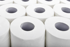 Toilet paper in orderly rows closeup Royalty Free Stock Photography