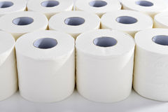Toilet paper in orderly rows Stock Photo