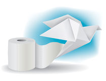 Toilet paper with Origami Pigeon Royalty Free Stock Photo