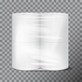 Toilet paper package white mock up with transparent wrapping. Vector illustration template on transparent background. For your design Royalty Free Stock Photo
