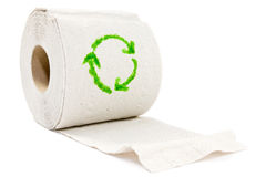 Toilet paper with recycle symbol. Stock Photos