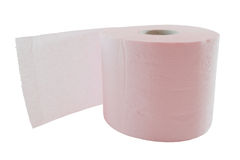 Toilet paper roll. Pink toilet paper roll isolated on white background Royalty Free Stock Photography