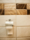 Toilet paper roll hanging in bathroom close up with cream  ceram Stock Photo