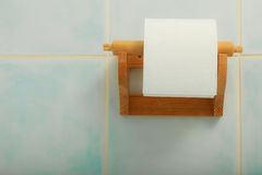 Toilet paper roll hanging in bathroom on wall Royalty Free Stock Photography