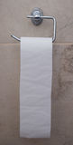 Toilet paper roll hanging on the wall Stock Photo