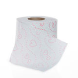 Toilet paper roll with Hearts pattern Royalty Free Stock Photos