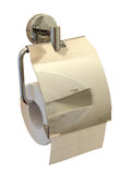 Toilet paper roll with holder. Toilet paper roll with fancy brass wall mounted holder isolated against a white background Royalty Free Stock Image