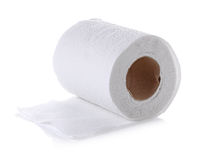 Toilet paper roll isolated on white background.  Stock Photo