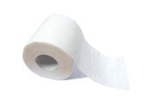 Toilet paper roll isolated on white. With room for copyspace Royalty Free Stock Photography