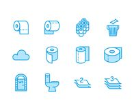 Toilet paper roll, towel flat line icons. Hygiene illustrations, mobile wc, restroom, tree layered napkin. Thin signs vector illustration