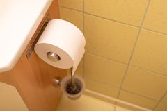 Toilet paper rolled up on a roll in the toilet. Personal hygiene royalty free stock photography