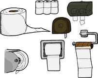 Toilet Paper Rolls and Dispensers. Set of 7 isolated, hand-drawn rolls of bathroom tissue and toilet paper dispensers Stock Photo