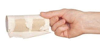 Toilet paper rolls in hand Stock Image