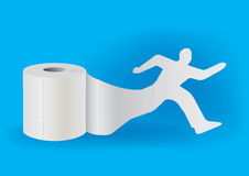 Toilet paper with running man Royalty Free Stock Photography