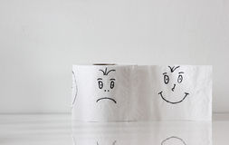 Toilet paper with smiley Royalty Free Stock Photography