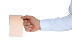 Toilet-paper. Toilet roll on the finger Royalty Free Stock Images