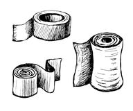Toilet paper and towels. Paper in rolls of different shapes and purposes. Molar Scotch tape. Toilet paper and towels. Vector sketch drawn by hand vector illustration