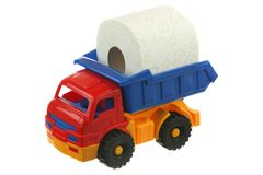 Toilet paper in the truck Stock Image