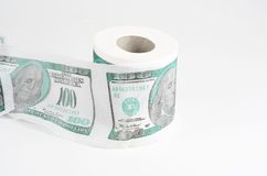 Toilet paper with usd Stock Photography