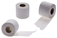 Toilet paper on white Stock Photos