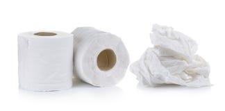 Toilet paper on white background stock photo