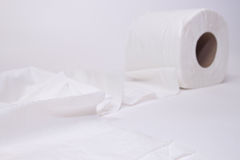 Toilet paper  on white background. Stock Photo