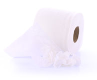 Toilet paper on white background. Tissue,cleaning Stock Image