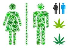 Toilet Persons Composition of Marijuana. Toilet persons collage of hemp leaves in various sizes and green shades. Vector flat weed leaves are composed into Royalty Free Stock Photography