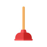 Toilet plunger bathroom equipment flat icon vector. Royalty Free Stock Image